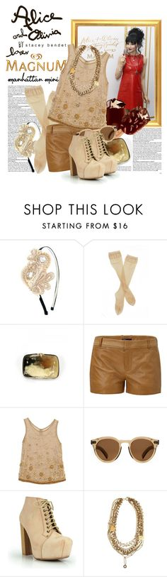"""""""MAGNUM Ice Cream & Alice + Olivia !"""" by cherrybomb101 ❤ liked on Polyvore featuring Alice + Olivia, Talullah Tu, Fogal, Vince, Illesteva, Isabel Marant, chain necklaces, leather shorts, wayfarer sunglasses and stacey bendet"""