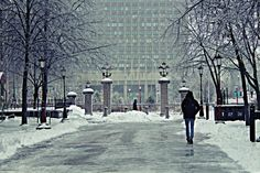 A student walks in a winter wonderland on the campus of the University Of Ottawa @uOttawa