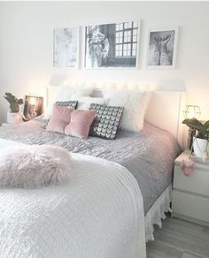 Cozy Home Decoration Ideas For Girls& Bedrooms - cozy home decorating ideas for girls bedroom, - Cozy Home Decorating, Decorating Ideas, Decorating Websites, Cute Bedroom Ideas, Bedroom Themes, Bed Ideas, Pretty Bedroom, Grey Bed Room Ideas, Bedroom Styles