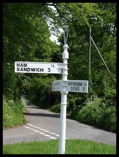 Best signpost in England: near Sandwich, Kent. Suddenly I'm hungry.