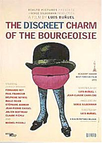 A surreal, virtually plotless series of dreams centered around six middle-class people and their consistently interrupted attempts to have a meal together.  Director: Luis Buñuel