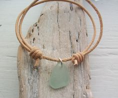 Scottish Sea Glass and Leather Surfer Bracelet - SAND AND SURF £5.99