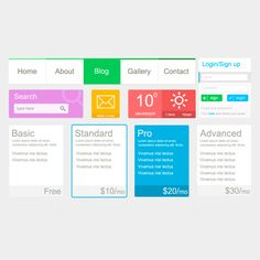 XOO Plate :: Metro Style Flat UI Elements Kit PSD - Colorful Metro flat UI elements - weather/temperature widget, navigation menu,  login form, search field, mailbox alert button, pricing tables - PSD.