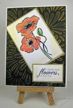 Crafter's Companion: Images are from Vintage Floral and Stamp-It Australia Imagine Line, Spring - Dreamy Daisies. Colored with Spectrum Noir Blendable Colored Pencils (022, 027, 028, 046, 047, 095). Also used eBosser with one of the new Darcie folders - Bold Floral and rubbed a Delicata Golden Glitz Ink Pad lightly over it  @Spectrum Noir