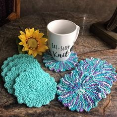 Knitted coaster, set of 4, beverage coaster, coaster, drink coaster, cotton coasters, round coasters, tea party, gift, linen,ConcettasCrafts