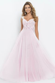 2015 V-Neck A-Line/Princess Prom Dress Tulle&Chiffon With Beads And Applique