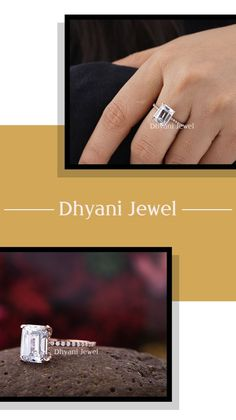 Engagement Gifts For Her, Engagement Rings, Moissanite Diamond Rings, Emerald Cut Moissanite, Personalized Promise Rings, Fashion Rings, Solid Gold, Gold Rings, Wedding Rings