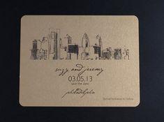 Philadelphia Skyline Wedding Save the Date by ericksondesign, $1.50