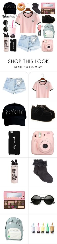 """""""Untitled #94"""" by siennahaw ❤ liked on Polyvore featuring LG, Fujifilm, Hue, Too Faced Cosmetics, Hello Kitty, ZeroUV and Ghibli"""