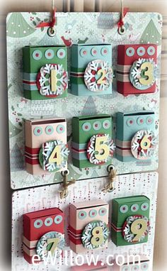 advent calendar with paper creation! (covered crayon boxes, etc.) FUN!