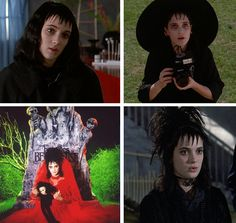 """Lydia Deetz from Beetlejuice: You'll need black hair with wet-gelled bangs, white foundation make-up and black eyeliner, a black (or red) lace wedding dress, a camera, and bonus points for a homemade """"Handbook for the Recently Dead. Halloween 2015, Halloween Makeup, Halloween Party, Halloween Costumes, Halloween Ideas, Film Tim Burton, Tim Burton Characters, Movie Characters, Lydia Beetlejuice"""