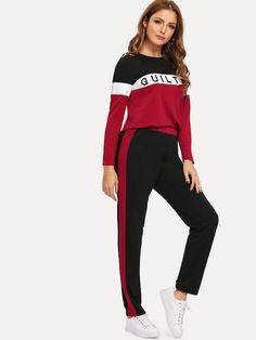 Shocknshop Red and Black Letter Print Colorblock Tape Tee & Leggings Pants Tracksuit Set for Womens Tops For Leggings, Leggings Are Not Pants, Women's Leggings, Gym Wear For Women, Active Wear For Women, Aerobics Workout, Tracksuit Set, Sporty Outfits, Yoga Wear