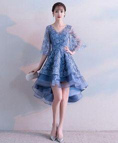 71cba1731f Gray v neck tulle beads short prom dress