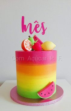 Best Screen fruit cake fondant Tips - yummy cake recipes Dessert Party, Fruit Party, Watermelon Cake, Watermelon Birthday, Fruit Birthday Cake, 2nd Birthday, Bright Birthday Cakes, Birthday Ideas, Tutti Fruity Party