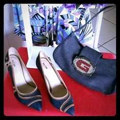 """●●●  Denim & Leather Trim Salsa Jean's Pump ●●● Super Deal !!!- As New - Denim & Leather Trim """"Salsa"""" Jean's Pump; made in Portugal. The size is 8 and high heels are 3 1/2"""". Stamped """"S"""" which means Salsa. In both shoes has initial on the outside """"S"""" and under the sole has the complete world stamped saying """"SALSA"""". Guess handbag  included. It matches perfectly with Denim & Leather Trim Salsa Jean's Pump.  Happy Shopping !!! SALSA Shoes"""