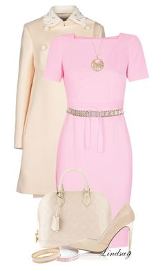 """Paule Ka Pale Pink Crepe Dress"" by lindsayd78 ❤ liked on Polyvore featuring Valentino, Paule Ka, Louis Vuitton, Miss Selfridge, Frederic Sage, Whistle & Bango and Halcyon Days"