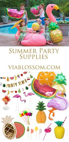 Must Have Summer Party Supplies on the Via Blossom Blog!  Everything you'll need for a fun Tropical Party or a Flamingo Party or a Tutti Frutti Party!  Where to buy all your Party Supplies!