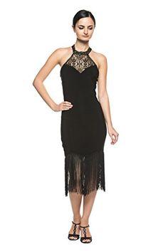 Women High Neck Lace Black Fringe 20s Flapper Dance Evening Cocktail Party Dress (XL)