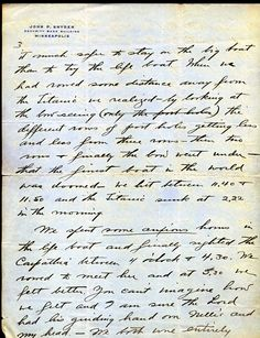 Letter John Snyder wrote after being rescued from the Titanic.  Page 3 of 4