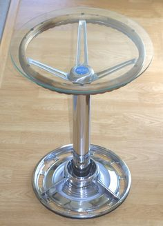 Ronen Tinman | Tables; Bar Table Bar Table from Automotive Parts A collection of car parts combined to create a narrow and tall bar table.