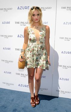 Ashley Benson: Ashley made a splash at The Palazzo's Azure pool party in a springy floral dress, leather sandals, and a bevy of accessories in 2012.