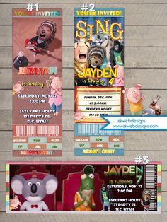 Sing Movie ticket Birtday Invitations - Illumination Sing Movie Ticket Style Invitations