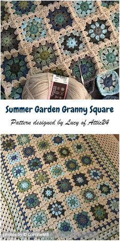 Crochet For Beginners Summer Garden Granny Square Blanket Idea Granny Square Crochet Pattern, Afghan Crochet Patterns, Crochet Squares, Sewing Patterns, Crochet Square Blanket, Crochet Motif, Crochet Stitches, Granny Square Häkelanleitung, Granny Square Projects