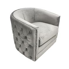 Kenware Grey Rocky Velvet Swivel Chair deep tufted sides with stud detailing. New for 2018 add to cart for UK delivery today. Chair Bed, Wingback Chair, Cocktail Chair, Swivel Recliner, Fabric Armchairs, Velvet Armchair, Club Chairs, Accent Chairs, Elegant