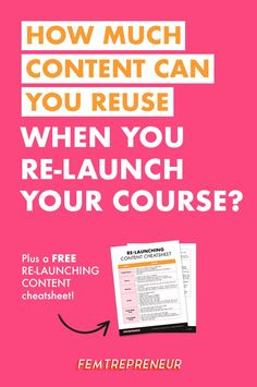 """We're answering an awesome question from fellow Femtrepreneur, Monica. She asked, """"How much of your launch content can you reuse?"""" You may be surprised, but you don't have to completely recreate your launch content! We're going to go through the tweaks you will need to make and how to relaun Business Tips, Online Business, Marca Personal, Apps, Thing 1, Make Money Blogging, Blogging Ideas, Blogging For Beginners, Content Marketing"""