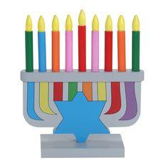 Hanukkah | Menorahs | Painted Wood Childs Menorah