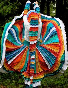 SuperDuperUbberAwesome Custom Kaleidoscope gypsy  faery  patchwork  upcycled recycled sweater coat. $544.44, via Etsy.