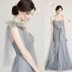 Jenny Yoo Annabelle Dress in Sterling Grey. From strapless to one-shoulder-the options are endless! www.jennyyoo.com