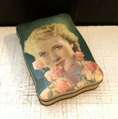 Unique c 1940 Vintage Candy Tin Box Glamour Girl Pin Up Movie Star Pink Roses Thorne's