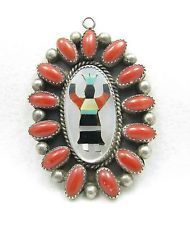 HUGE Vintage Navajo Coral Inlay Crown Kachina Dancer Sterling Necklace Pendant