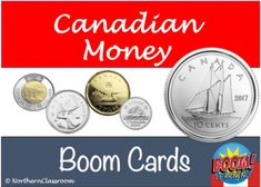 """""""Canadian Money"""" Interactive internet activity - Boom Task CardsPerfect for students in grades K-3. Learn about Canadian coins with this Boom Task Cards set. Practice counting, coin recognition, skip counting. Use it in the classroom or at home. Northern Classroom :) ... Canadian Coins, Canadian History, Skip Counting, Task Cards, Social Studies, Curriculum, Students, Mindfulness, Canada"""