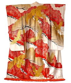 Japanese wedding silk kimono gown, 1930's.   Golden storks as Japanese symbol of love forever are embroidered artistically on red-golden pines on this lovely antique wedding kimono. Material: silk
