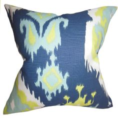 "Djuna Ikat 22"" x 22"" Down Feather Throw Pillow Green"