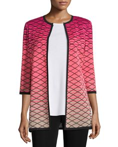 3/4-Sleeve Printed Ombre Jacket, Women's, Coral - Misook