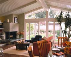 Vaulted ceiling white planks #living room