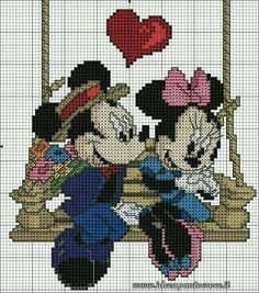Mickey & Minnie on wooden swing - Cross-stitch graph Disney Cross Stitch Patterns, Cross Stitch For Kids, Cross Stitch Love, Cross Stitch Charts, Cross Stitch Designs, Mickey Mouse, Mickey E Minie, Disney Stitch, Cross Stitching