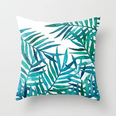 Want! Hand painted watercolor palm leaves throw pillow. home decor