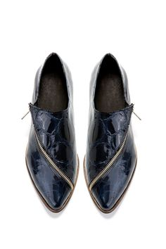 Blue Flat shoes - Midnight blue oxford shoes - Handmade by ImeldaShoes