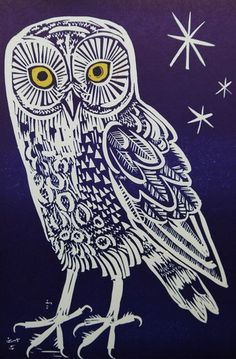 Owl, by Mark Hearld. Linocut