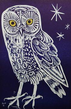 Owl, by Mark Hearld. Linocut