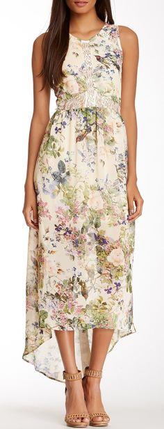 Love love love this dress!! ASTR Lace Illusion Hi-Lo Print Maxi Dress