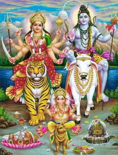 Handicraft Store Shiva with Durga and Ganesha in Himalaya, A Poster Painting with Frame for Hindu Religious Worship Purpose Shiva Parvati Images, Durga Images, Shiva Hindu, Shiva Art, Durga Puja, Hindu Deities, Krishna Art, Hindu Art, Shiva Shakti