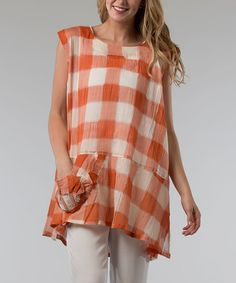 Loving this Orange Checkerboard Sleeveless Shift Tunic - Women on #zulily! #zulilyfinds