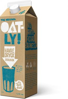 Organic Oat Drink Chilled Oatly wow no cow vegan drink oat milk packaging design Dairy Packaging, Organic Packaging, Milk Packaging, Cool Packaging, Food Packaging Design, Beverage Packaging, Coffee Packaging, Packaging Boxes, Chocolate Packaging
