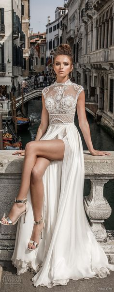 julie vino spring 2018 bridal sleeveless illusion high neck sweetheart neckline heavily embellished bodice flowy skirt romantic sexy a line wedding dress covered lace back chapel train zv -- Julie Vino Spring 2018 Wedding Dresses 2018 Wedding Dresses Trends, Sexy Wedding Dresses, Sexy Dresses, Wedding Gowns, Wedding Reception, Lace Wedding, Shear Wedding Dress, Purple Wedding, After Wedding Dress