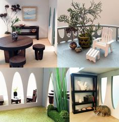 Sustainable Mid Century Modern Dollhouse and Matching Furniture in home furnishings Category